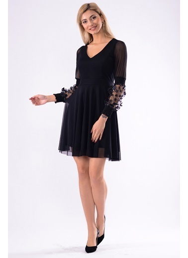 İroni Lazer Çiçekli Tül Mini Elbise Siyah